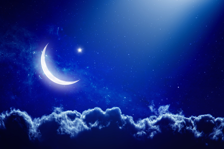 Eid Mubarak background with moon and stars, holy month, Ramadan Kareem.   Stock Photo