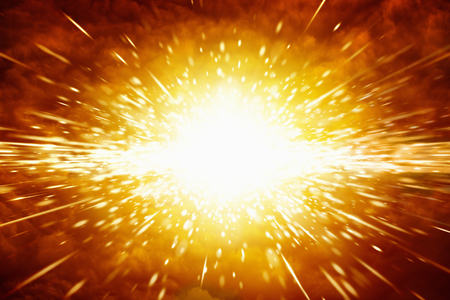 抽象的な科学的背景 - スペースで大きな赤い爆発