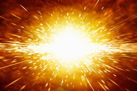 Fondo scientifico astratto - grande esplosione rossa nello spazio