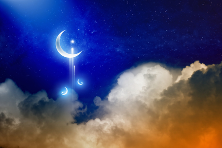 Eid Mubarak background with shiny moon and stars, holy month, Ramadan Kareem, glowing red clouds.