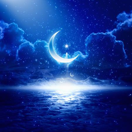 Eid Mubarak background with shining moon and stars, holy month, Ramadan Kareem, glowing horizon