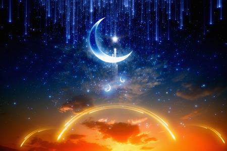 Eid Mubarak background with shiny moon and stars, holy month, Ramadan Kareem, glowing red sunset