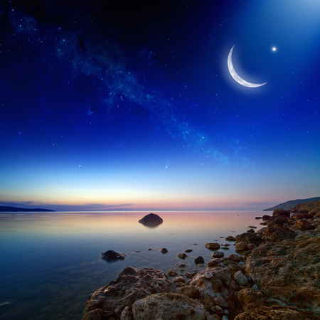 Eid Mubarak background with moon and stars, holy month, Ramadan Kareem, beautiful sunset.