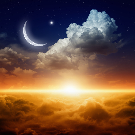 Ramadan background with moon and stars, holy month, Ramadan Kareem, glowing red sunset Stock Photo