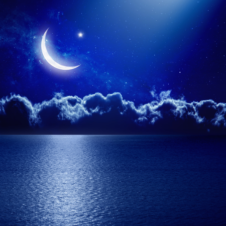moon stars: Ramadan background - moon and star with reflection in sea, holy month.
