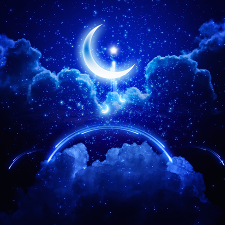 Ramadan background - shining moon and stars, holy month, abstract mosque.
