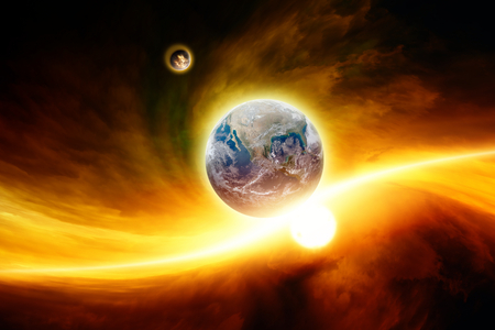nibiru: Abstract fantastic background - planet Earth in red space, exploding moon approaching to Earth, end of world.   Stock Photo