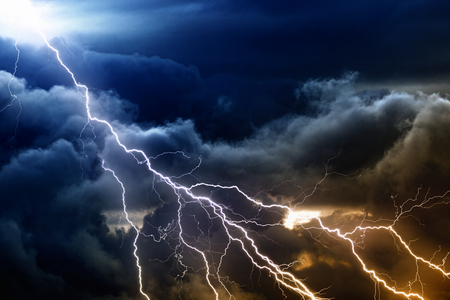 Dramatic nature background - bright lightnings in dark stormy sky Stock fotó - 30167988