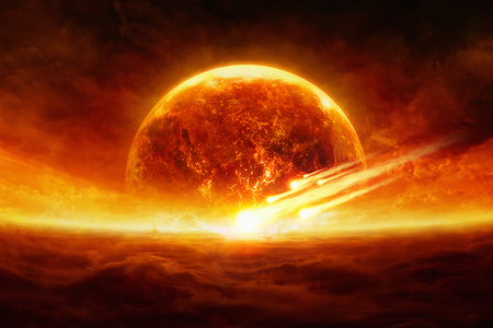 Dramatic apocalyptic background - burning and exploding planet Earth, hell, asteroid impact, glowing horizon. Elements of this image furnished by NASA