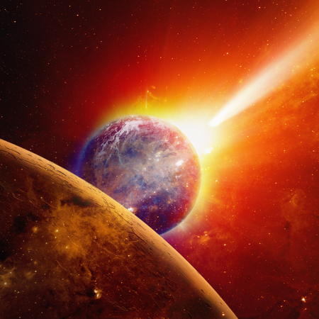 approaches: Abstract scientific background - glowing planet earth and mars in space, comet approaches planet earth, red sun.