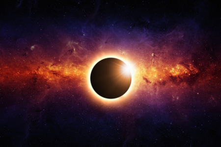 galaxy: Abstract scientific background - full sun eclipse, red galaxy in space.
