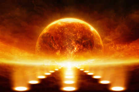 Dramatic apocalyptic background - burning and exploding planet Earth, bright spotlights. Фото со стока
