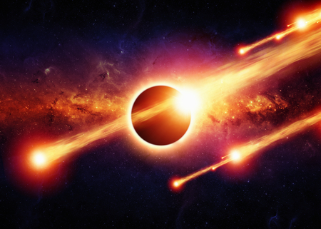 Abstract scientific background - full sun eclipse, burning asteroids, red galaxy in space   Foto de archivo