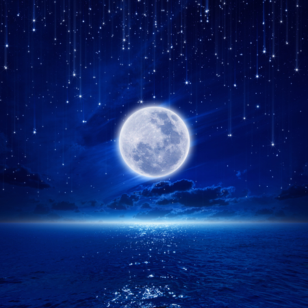 Peaceful background, night sky with full moon and reflection in sea, falling stars, glowing horizon   Stockfoto