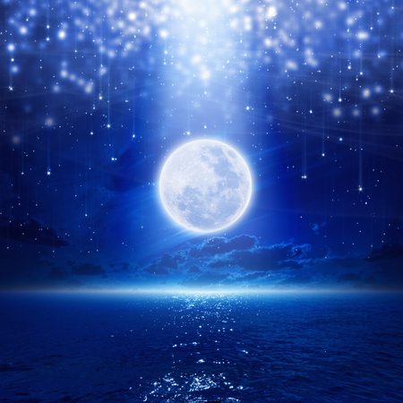 Full moon party background, night sky with full moon and reflection in sea, falling stars, glowing horizon.