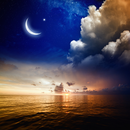 Islamic background with moon and stars. Elements of this image furnished by NASA