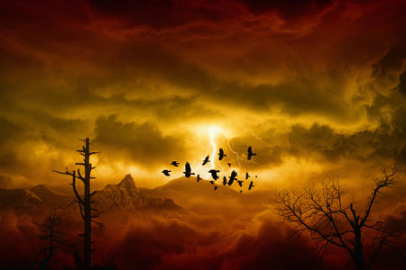 Apocalyptic dramatic background - lightnings in dark red sky, flock of flying ravens, crows in dark red moody sky Stock Photo