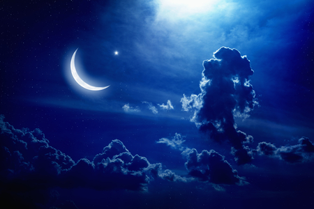 Eid Mubarak background with moon and stars, holy month, Ramadan Kareem, light from above Stock Photo