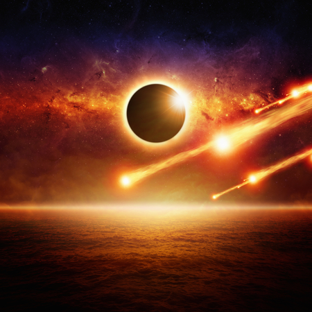 Abstract scientific background - full sun eclipse, asteroid impact, red galaxy in space, glowing horizon above red ocean, end of world. 写真素材