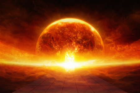 Apocalyptic scientific background - burning and exploding planet Earth in hell, end of world, road to hell. Elements of this image furnished by NASA photo