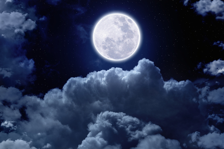 moon light: Beautiful midnight sky with bright full moon and stars above clouds