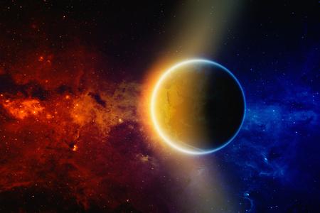 radiacion solar: Antecedentes científicos - brillante planeta Tierra en el espacio, galaxia rojo y azul con las estrellas y nebulosas.