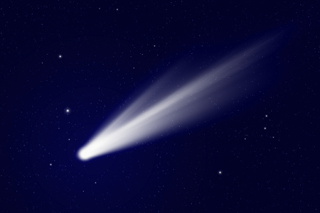 Scientific background - comet in deep space, stars in space