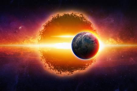 환상적인 배경 - 공간에서 행성 지구에 접근 외계인 행성, 세계의 전쟁, 스타 워즈. NASA가 제공 한이 이미지의 요소