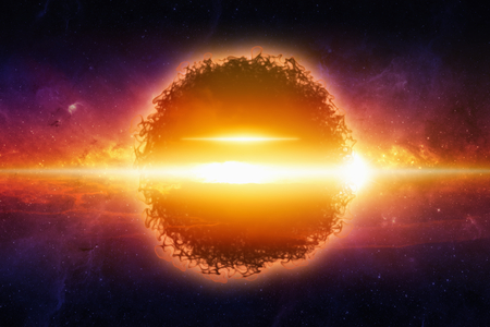 Fantastic background - exploding aliens planet in space. Elements of this image furnished by NASA
