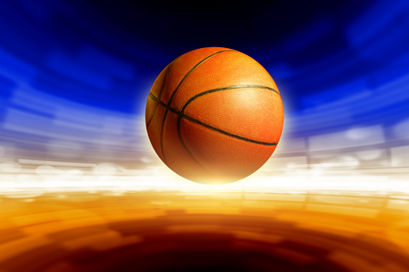 Abstract sports background - basketball, bright glowing lights