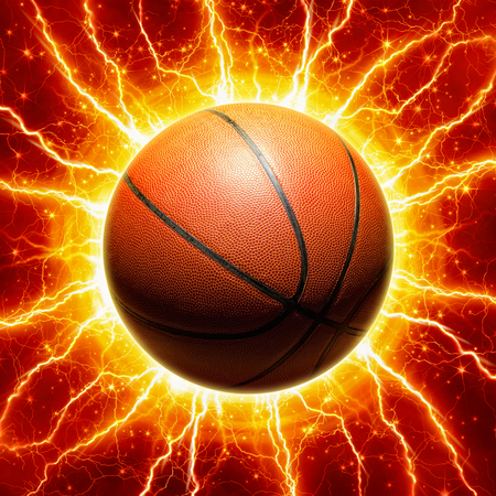 ball lightning: Glowing basketball, yellow lightnings and stars on red background Stock Photo