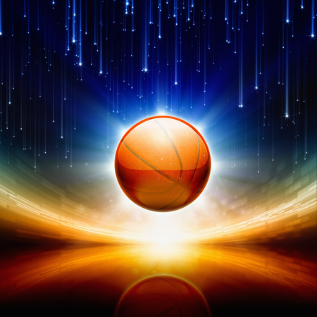 Abstract sports background - basketball, bright spotlights, falling stars