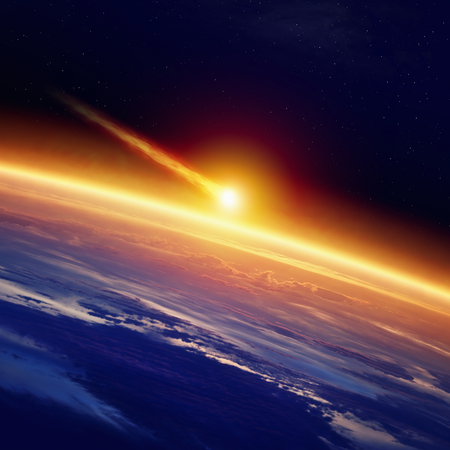 Abstract scientific background - asteroid impact planet earth