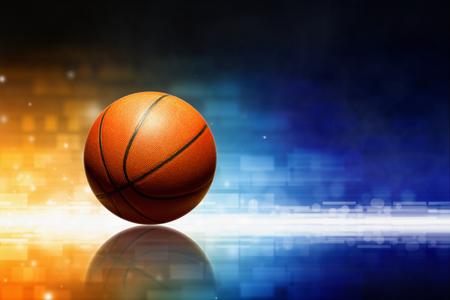 Streszczenie sport background - koszykarz z refleksji, pomarańczowym i niebieskim świecące światła