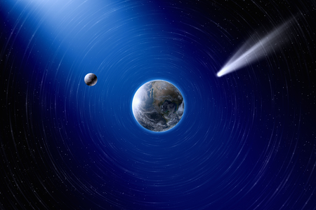 approaches: Abstract scientific background - planet Earth and moon in space, comet approaches planet Earth.  Stock Photo
