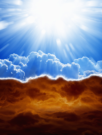 god in heaven: Religious background - blue sky with bright sun, dark red clouds, heaven and hell Stock Photo
