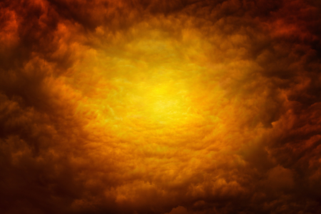 Dramatic religious background - apocalyptic red clouds, way to hell