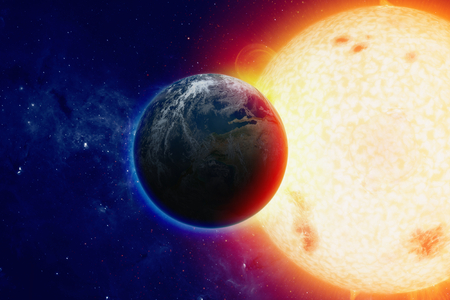Scientific background -  planet Earth in space, bright glowing sun.