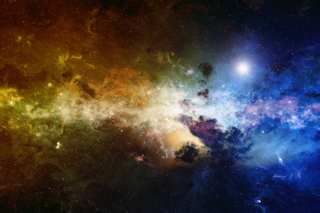 space background: Astronomical scientific background, nebula and stars in deep space, glowing mysterious universe.