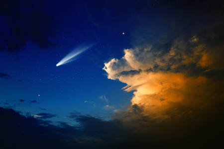 Scientific background - bright comet in dark blue sky with stars, glowing clouds