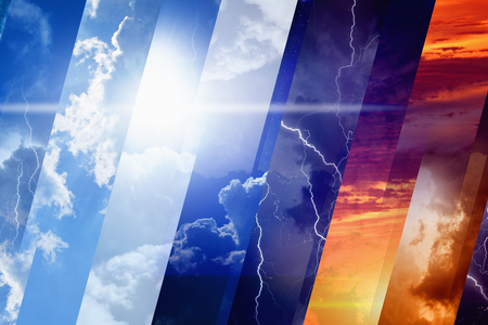 weather: Weather forecast concept background - variety weather conditions, bright sun and blue sky; dark stormy sky with lightnings; sunset and night