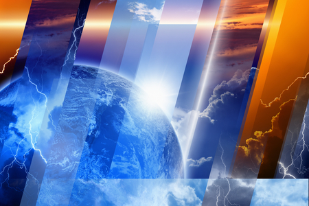 Planet Earth in variety weather conditions, bright sun and blue sky; dark stormy sky with lightnings; sunset and sunrise. Elements of this image furnished by NASA nasa.gov