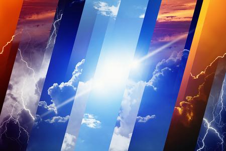 Weersverwachting concept achtergrond - verschillende weersomstandigheden, felle zon en blauwe lucht; donkere stormachtige hemel met bliksemen; zonsondergang en 's nachts