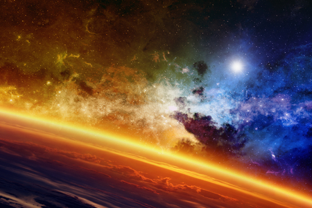 Abstract scientific background - red glowing planet, nebula and stars in space.