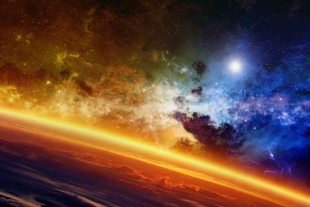 planeten: Abstrakt wissenschaftlichen Hintergrund - rote glühende Planeten, Nebel und Sterne im Weltall.