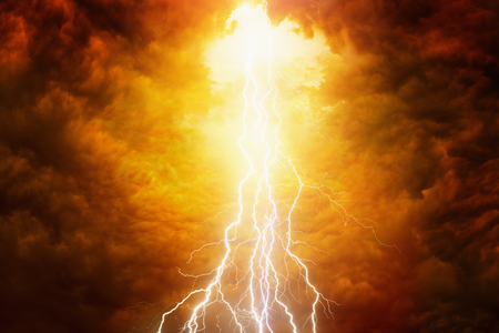apocalyptic: Religious background - bright lightnings in red apocalyptic sky, judgement day, end of world