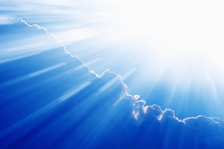 heaven background: Peaceful easter background - beautiful blue sky with bright sun, light from heaven