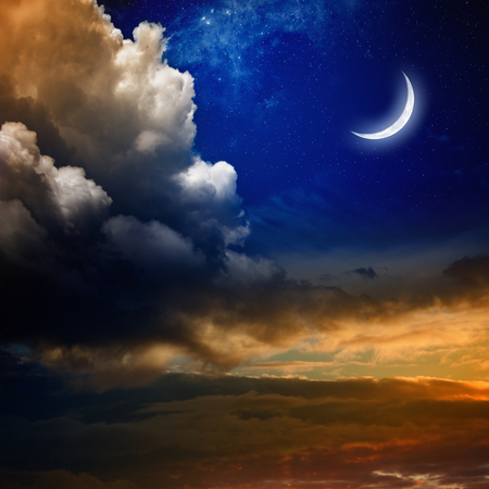 glowing star: Beautiful nature background - new moon in dark blue sky with stars, glowing sunset clouds. Elements of this image furnished by NASA nasa.gov Stock Photo