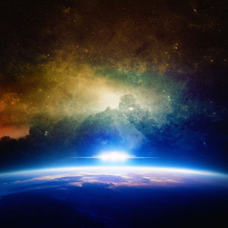Abstract sci-fi background - glowing planet, nebula and stars in space, ufo approaches planet. Archivio Fotografico