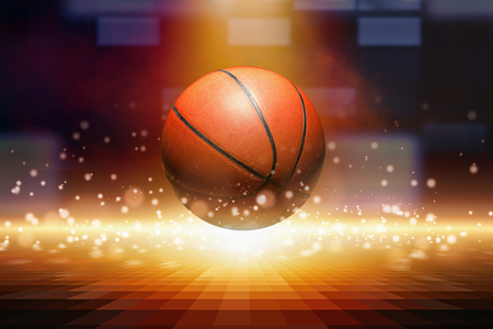 basketball: Sports background - basketball, bright spotlight from above, yellow glowing lights